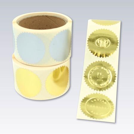 Etiketter för prägling med tandad kant